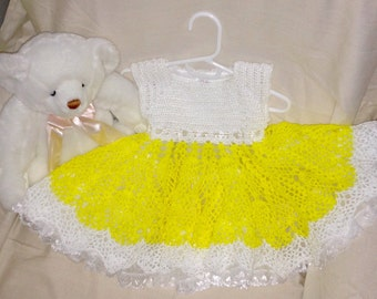 Yellow Baby Dress, Yellow Baby Party Dress, Baby Party Dress, Baby Yellow & White Summer Dress, Yellow and white