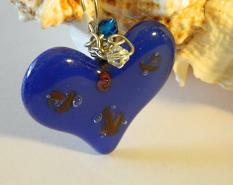 Fused Glass Heart in Blue Red Dichroic & Copper Pendant Necklace