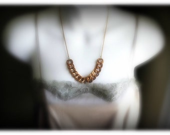 Chunky Vintage Raw Brass Statement Necklace