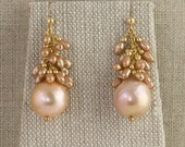 Pearl Earrings Kasumi Cluster Drop Post Pink Peach Gold Bridal Bride