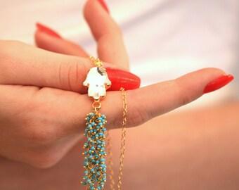 Hamsa Gold Necklace,Hand Of Fatima Necklace,Hamsa Hand Necklace,Bridal Something Blue,Turquoise Tassel Necklace,Swarovski Hamsa Necklace