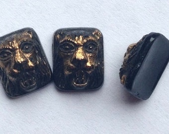 BWB (1) Little Lion's Head Vintage Onyx Glass Teenies With Gilding 10x7mm