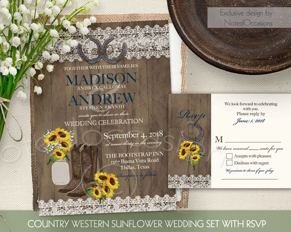 Boots Wedding Invitations: Rustic Sunflower Wedding Invitation Set Country By