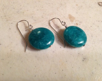 Teal Earrings - Sterling Silver Jewelry - Agate Gemstone Jewellery - Fashion