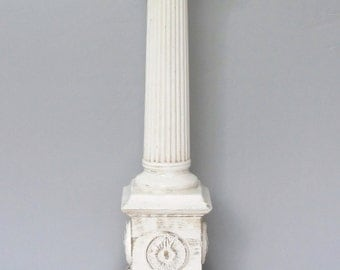 Vintage pillar lamp/ architectural lamp/ white table lamp/ ionic column/ Quartite Creative Corp. 1957