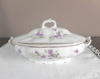 Antique Serving Dish w Lid White Purple Floral Austria ca. 1900