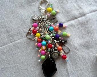 COLORFUL Beaded purse charm fob key chain zipper pull