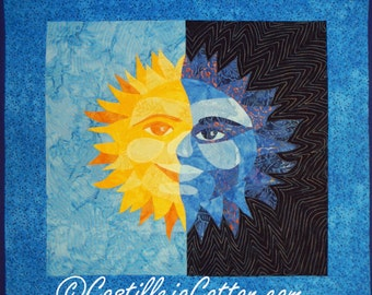 Sun and Moon Quilt ePattern, 4721-1, sun and moon art quilt, sun and moon wall hanging