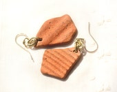 Beach Pottery Earrings. Gold Filled Hooks. Textured Ancient Ceramic Earrings. Brick Red Pottery. Terracotta Earring. Sea Pottery. Israel