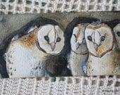 Barn Owls Original Handpainted Watercolor Bookmark