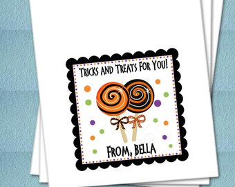 Personalized Halloween Favor Bags - Halloween Lollipops - Party Favor Bags, Class Party Bags, Candy Bags, Trick or Treat Bags