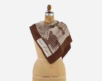 Vintage ADELE SIMPSON Silk SCARF / 1970s Brown Geometric Hounstooth Twill Scarf