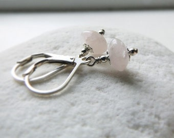 Rose Kiss Quartz - Victorian Earrings  by Quintessential Arts