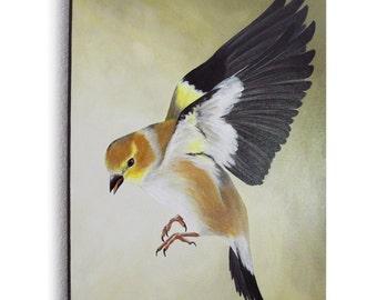 Flying bird painting - bird in flight - woodland bird decor - large canvas painting - realistic bird on the wing - ornithology