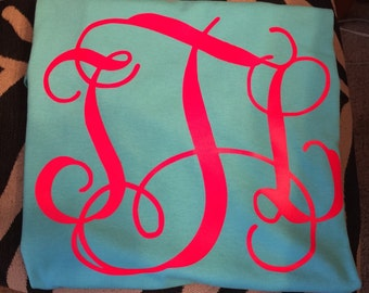Heat Transfer Vinyl monogram T-Shirt adult, youth, toddler and infant sizes
