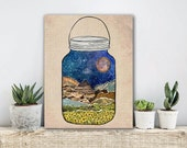 ON SALE 20% OFF Star Jar - Stretched Canvas print, mixed media collage art, canvas art, nature decor, terrarium print, large wall art, bohem