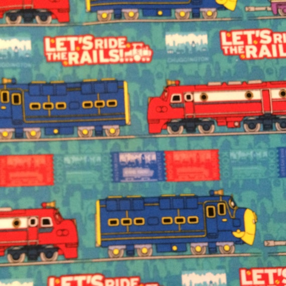 Fabric chuggington train blue 100 cotton quilt eustheelf by for Train fabric by the yard