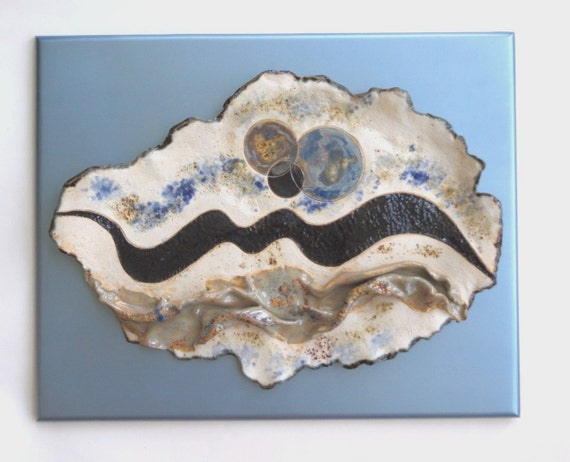 Abstract Ceramic Wall Art Sculpture  Blue White Contemporary Clay Wood Backing Pottery Wall Hanging  Modern Ceramic Wall Decor