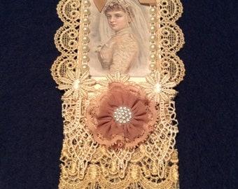 Wedding Tag, Vintage Tag, Bridal Shower Tag, Gift Tag, Lace Tag, OOAK