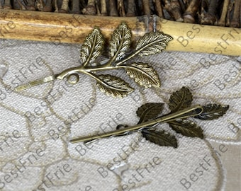 6pcs of Antique Bronze bobby pins Round filigree pad 32x50mm,hairpin findings,leaf Hair finding