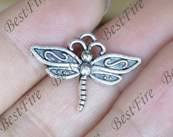 20 pcs of Antique Silver charming dragonfly pendant,scissor metal finding 16x22mm,dragonfly findings beads, dragonfly pendant beads findings