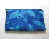 Batik Dolphins Fabric Zipper Pouch / Pencil Case / Make Up Bag / Clutch