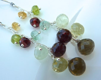 Garnet, Citrine, Aquamarine, Peridot, Cognac Qz, Lemon Qz. Neutral Cascade Gem Drop Earrings. Beadwork Chain. Warm Chandelier.