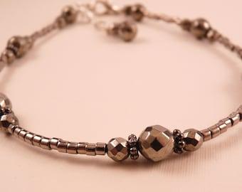 Pyrite Anklet Gemstone Ankle Bracelet Gemstone Jewlery Fool's Gold Anklet Beaded Anklet Beaded Jewelry Silver Jewelry Silver Anklet