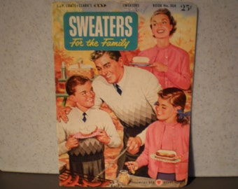 Vintage Mid Century Magazine - Sweaters For The Family - Chadwick's Red Heart Yarns