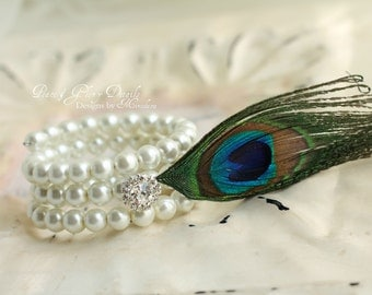 Bridal Jewelry Bracelet  - White Ivory Pearl Peacock Feather Bracelet - Bridesmaids Gifts - Unique Statement Jewelry - Many Colors