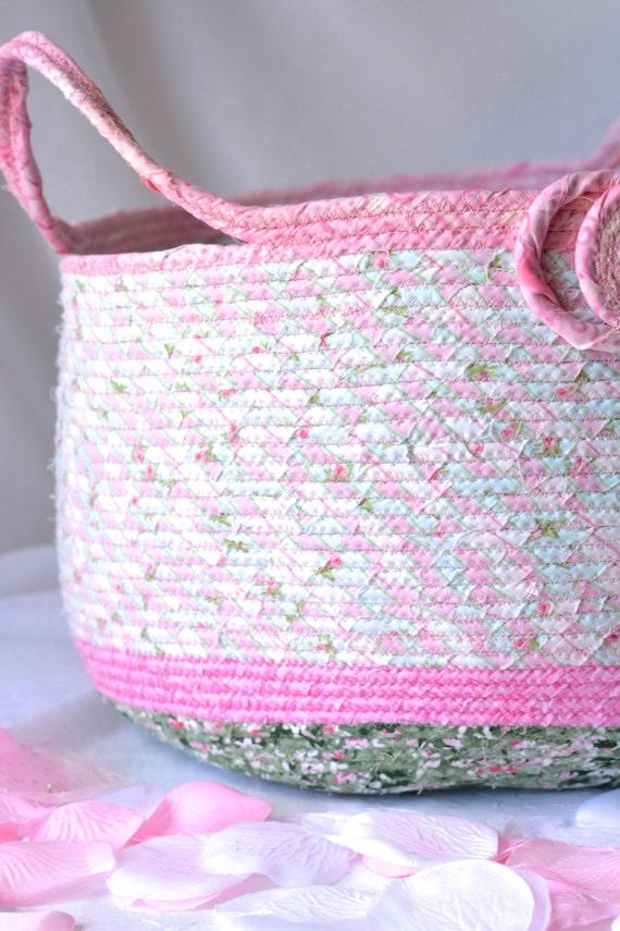 Girl Doll Basket, Handmade Pink Coiled Fabric Basket, Moses Basket, Baby Shower Gift Basket, Toy Organizer Basket, Pink Stuffed Animal Bin