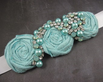 Bridal sash - aqua bridal belt - robin egg blue - wedding - maternity sash - swarovski crystal sash
