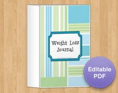 Complete Weight Loss and Fitness Journal in Green, 8 page, EDITABLE PDF