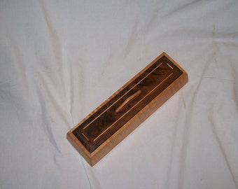 Fiddle Back Maple Trapezoid Keepsake box with Fancy Walnut top.Handcrafted 7''x3 1/2''x2 3/4'