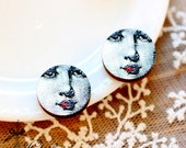 20% off - NEW Unique 3D Embossed Face Lips 16mm Round Handmade Wood Cut Cabochon to make Rings, Earrings, Necklaces, Bracelets-(WG-304)