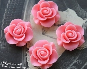 10pcs Wholesale Beautiful  Colorful Rose Flower Resin Cabochon  --20mm(CAB-S -12)