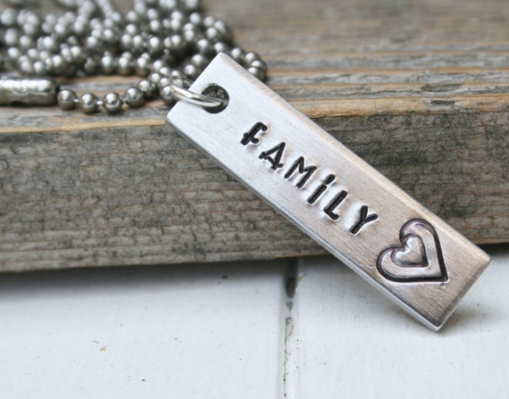 FAMILY Necklace ONE Tag Hand Stamped Rectangle Bar Jewelry Charm Aluminum Personalized Stainless Steel Chain Name Initials Date Men Women