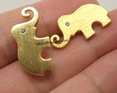 Elephant Cufflinks with Diamond Eyes - Yellow Gold Plated over Sterling Silver - Men's Cufflinks - Gold Elephant Cufflinks - Solid Silver