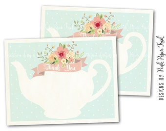 Tea Party Thank You Card in Mint, Instant Download, Print Your Own