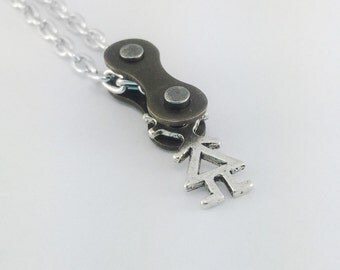 Female bicycle chain necklace, women's bicycle jewelry, girl cycling pendant, bicycle jewelry, biking necklace