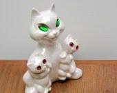 Vintage Cat and Kittens Figurine Lusterware Lustre Glaze