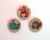Set of Three Hand Drawn Ink Illustration Whimsical Animal Magnets, Office Accessory Original Art by Andrea Doss, Turtle, Fox, Whale