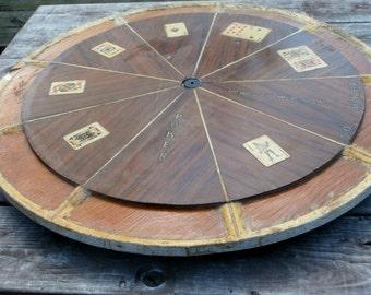 Rustic Lazy Susan Poker Top Wheel