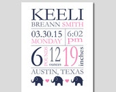 """Birth Stats Wall Art Birth Announcement Print New Baby Gift  Baby Birthdate Print Elephant Nursery Baby Girl Gift ANY COLORS 8""""x10"""""""