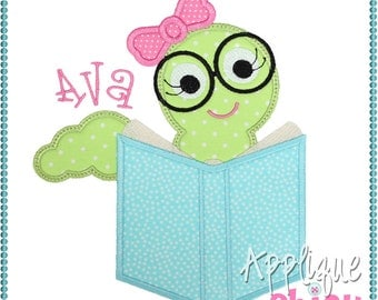 Bookworm Girl Applique Design