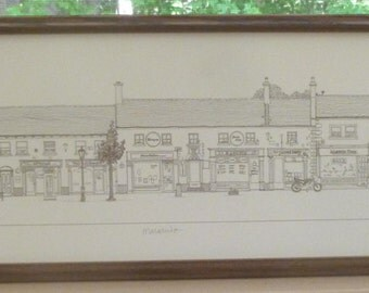 Signed Yard Long Drawing of Malahide a Small Town in Dublin - 136 of 600 - Dated 1988 - 9 X 35 Inches - Professionally Framed - NC