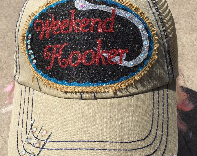 Weekend Hooker Fishing Cap Southern Women's Trucker Hat, Embellished Baseball Caps, Fishing Hat for Women, Custom Bling Girls Southern