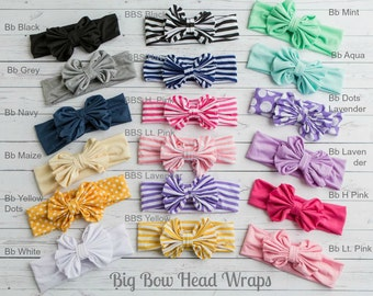CLEARANCE Baby Headbands, Girls Head wraps, Metallic Messy Bow Baby Head wraps, Jersey Knit Headwraps, Big Bow Baby Headbands,Gold Headband,