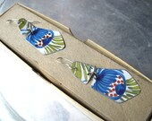 Hold for Sarah, Tin Earrings, Blue Flowers, French Biscuit Tin, Lightweight Dangles