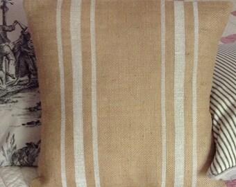 Burlap Grain Sack Striped Pillow, Rustic Home Decor Pillow Cover, Choice of Colors